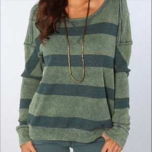 We The Free Oversized Striped Thermal Knit Top